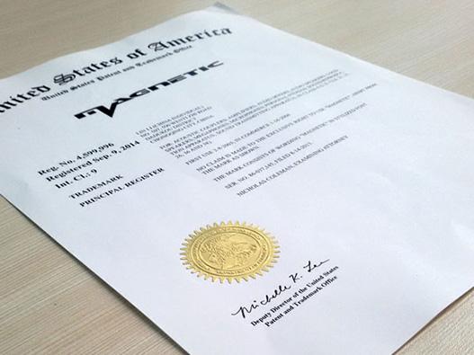 美国商标注册证书